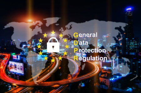 blurred image of night city with world map and General Data Protection Regulation (GDPR) diagram Concept, network technology, privacy, cyber, security system concept