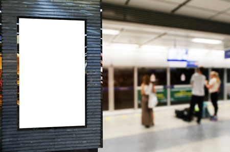 blank advertising billboard or showcase light box with copy space for your text message or media and content with people waiting subway at train station, commercial, marketing and advertising concept Stock Photo - 107623027