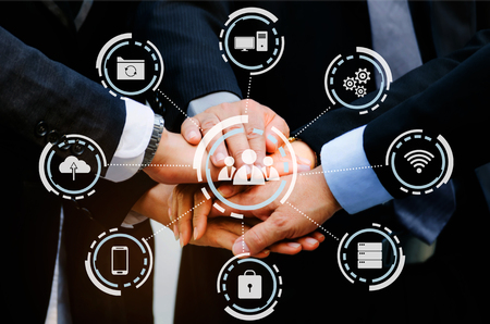 group of business people team joining hands together with virtual innovation, network connection interface diagram, congratulation, success, meeting, partner, teamwork and community concept