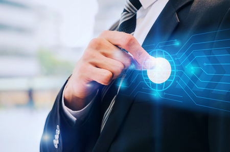 close up hand of business man in black suit pick bitcoin from suit pocket with graphic network diagram