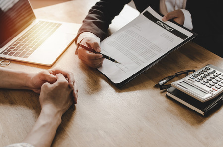 legal consultants, notary or justice lawyer discussing contract document and notebook on desk with client customer in courtroom office, business, justice law, insurance, legal service concept
