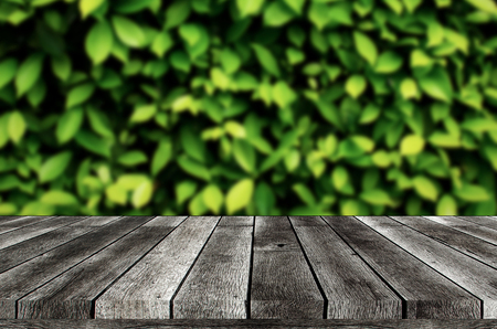 empty wooden board, table or modern wooden terrace with blurred image of green leaf nature background, copy space for display of product presentation, advertisement, commercial and marketing concept