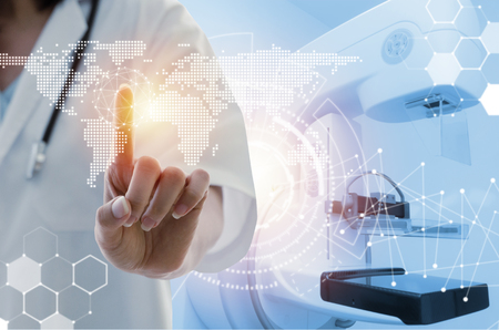 female doctor with stethoscope hand pointing touching world map data digital icon hologram with Mammography X-Ray System Machine in hospital background, medical innovation, future technology concept Banque d'images