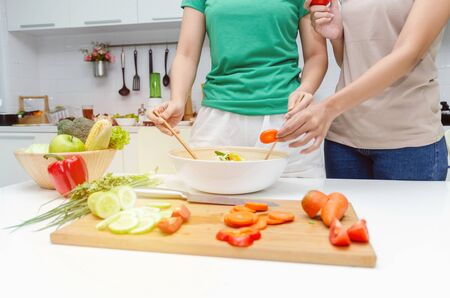 Diet. two young pretty woman in green and brown shirt preparing the vegetables salad in bowl for good healthy in modern kitchen at home, healthy lifestyle, cooking, healthy food and dieting concept Stock Photo