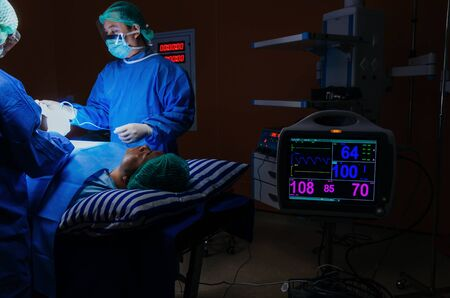 medical team surgeon performing surgery at work with with ECG/EKG monitor showing heart rate for rescue patient in operation room at hospital, medical technology, health care cancer, disease concept