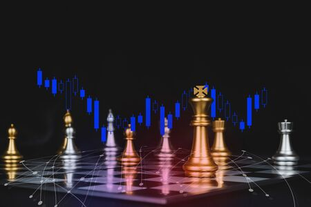 gold king with silver chess pieces on chess board game competition with graphic graph chart, network diagram on dark background, chess battle, victory, success, team leader, business strategy concept