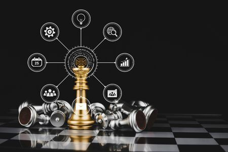 gold king surrounded with silver chess pieces on chess board game competition with virtual digital icon on dark background, chess battle, digital marketing, team leader, business strategy concept 版權商用圖片