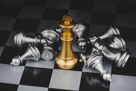Winner. gold king with silver chess pieces on chess board game competition on dark background, chess battle, victory, success, management, team leader, teamwork and business strategy concept
