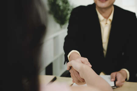 Partnership. business people partner shaking hand after business signing contract desk in meeting room at company office, job interview, investor, business negotiation, partnership, teamwork concept