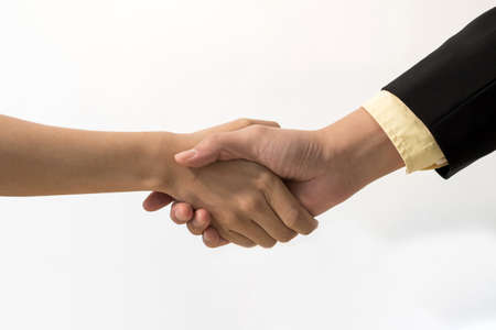 Partnership. business people investor handshake deal with partner after business meeting on white background, job interview, financial, business negotiation, teamwork, contract agreement concept