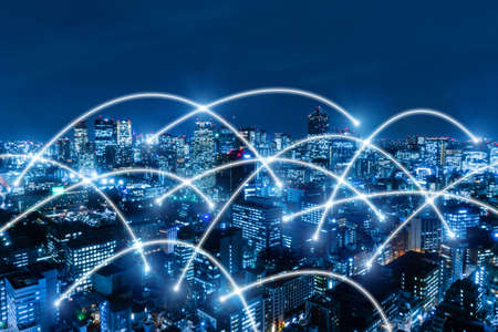 5G. global media link connecting on night city background, digital, internet, communication, globalization, networking, smart city, business, partnership, network connection and technology concept