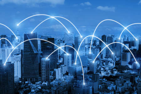 smart city. global media link connecting on night city background, digital, internet, communication, globalization, networking, business, partnership, network connection and technology concept