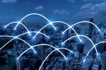 Globalization. media link connecting on night city background, digital, internet, communication, cyber tech, networking, smart city, business, partnership, network connection and technology concept