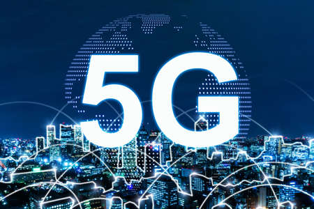 5G. global media link connecting on night city background, digital, internet, communication, cyber tech, speed internet, networking, smart city, partnership, network connection, technology concept