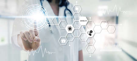 female doctor hand pointing touching data digital icon hologram in laboratory lab on hospital background, virus outbreak, network, coronavirus, covid-19 technology, innovation, medical, future concept