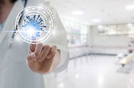 Medical. female doctor hand pointing touching data digital icon hologram in laboratory lab on hospital background, virus outbreak, network, coronavirus, covid-19 technology, innovation, future concept