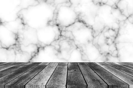 empty modern wooden terrace with abstract illustration natural black and white marble granite texture background, copy space for display of product presentation, interior decoration design concept