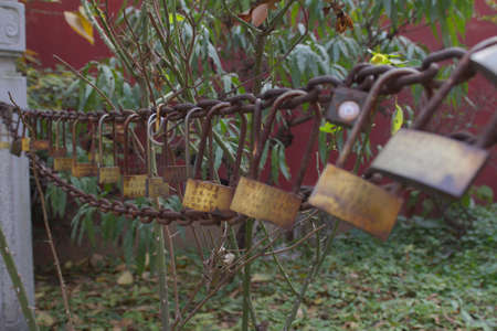 Padlocks used in a temple by the Chinese people to promise eternal love photo