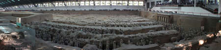 qin: Panoramic photo of the famous Terracotta Army in China
