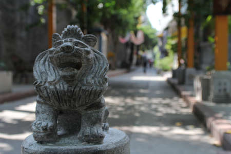 fengshui: Feng-shui lion in a Chinese street Stock Photo