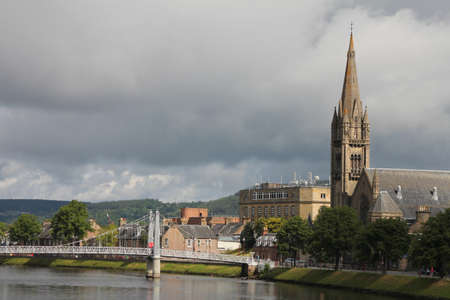 View of Inverness and the river  This river comes directly from Loch Ness Stock Photo - 14383209