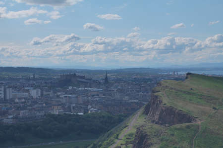 HDR photo of Arthur s Seat and the city of Edinburgh photo