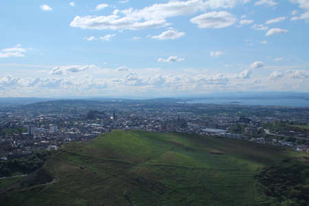 Panorama of Arthur s Seat and the city of Edinburgh photo