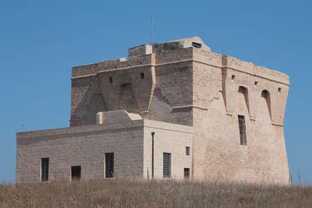 watchtower: Coastal watchtower on the Adriatic coast, Italy Stock Photo