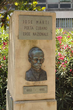 honouring: Monument honouring the famous Cuban poet Jose Marti, in Genoa, Italy  Editorial