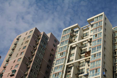 residencial: Tall apartment buildings, in Beijing, China  Stock Photo