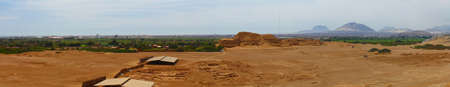 Panoramic photo of Huaca del Sol and archaeological excavations. This photo is made attaching together various photos  Standard-Bild