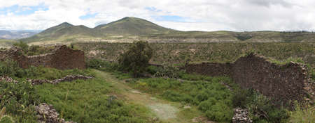 Panorama of ancient wall built by indigenous Wari people