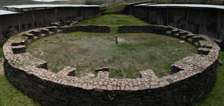 Round construction in archaeological Wari site, Peru
