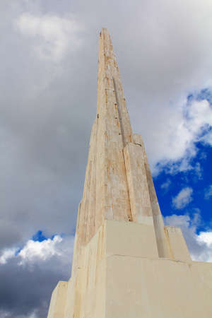 Detail of the obelisk standing 44 meters tall, celebrating the victorious battle of Ayacucho of 1824, where Peru gained its independence from Spain Editorial