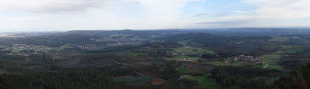 Countryside seen from the top of the Pico Sacro, a summit in the central Galician massif, in Galicia, Spain. According to the legend, this was going to be the grave of the apostle Saint James the Great Standard-Bild
