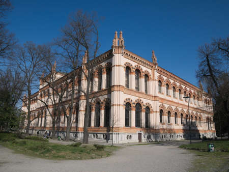 Lateral side of the Natural History Museum, located in the Indro Montanelli Gardens, near Porta Venezia, Milan, Italy