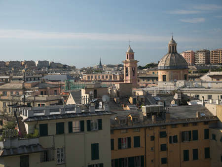 Buildings, seen from the Acquasola park, in downtown Genoa, Italy