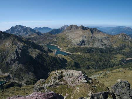 Panoramic view of lake Gemelli basin on the Bergamo Alps, northern Italy Stock Photo - 85265472