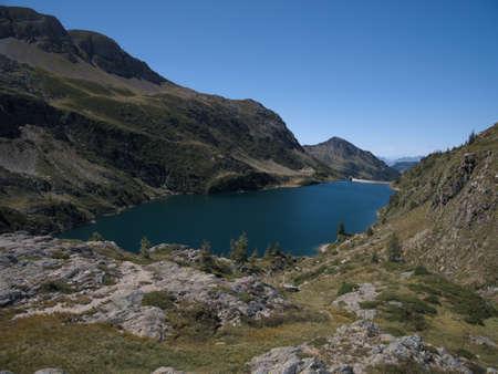 Lake Colombo basin and dam on the Bergamo Alps, northern Italy