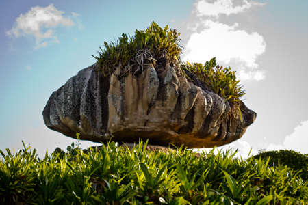 natural formation: Natural rock formation in unique shape on green grass against blue sky