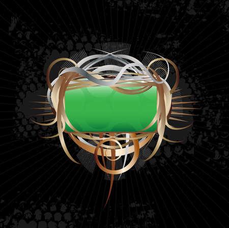 green swirl: beautiful ornate shield