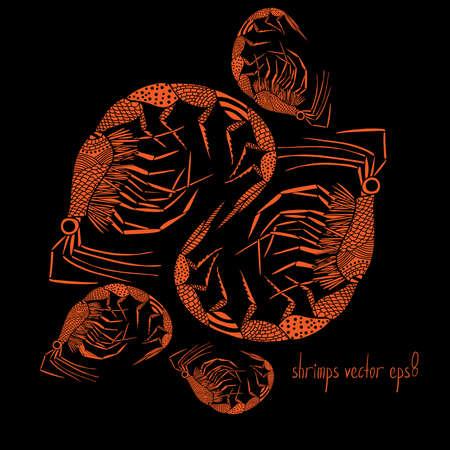 Grupo de camarones naranja de estilo sobre fondo negro Ilustración de vector