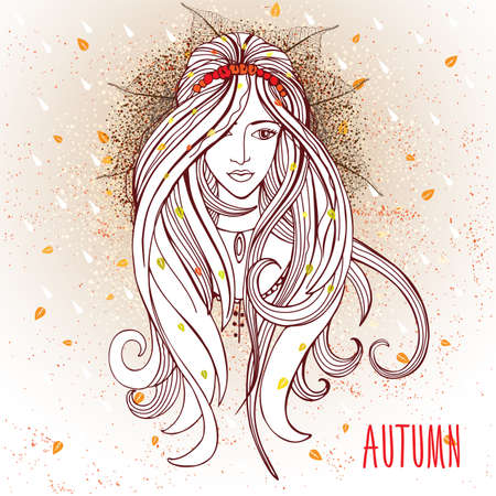 autumn woman: Vector illustration of woman with autumn elements