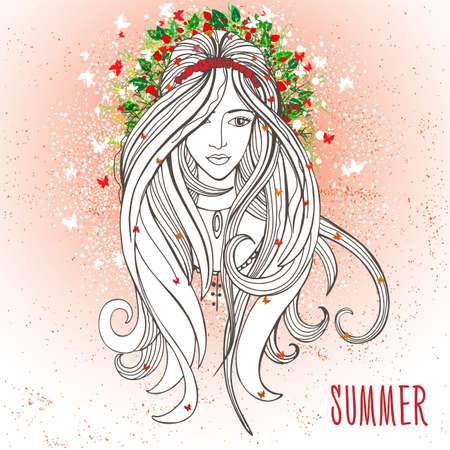 red hair: Vector illustration of woman with summer elements