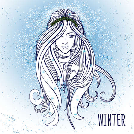 snow queen: Vector illustration of woman with winter elements Illustration