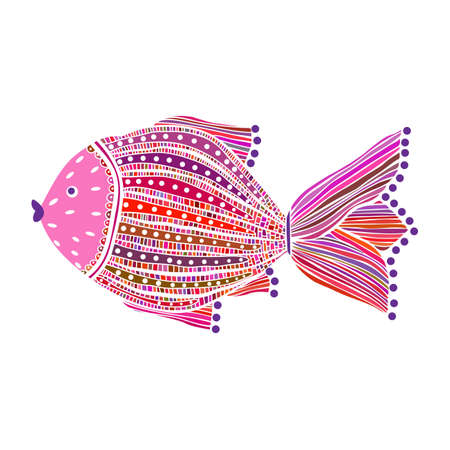 vectro: Vectro illustration of colored hand drawn fish on white background Illustration