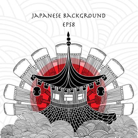 fond japonais avec la maison japonaise et le soleil