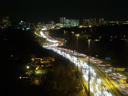night view of a highway