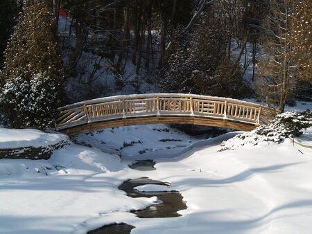 wooden bridge over a frozen river