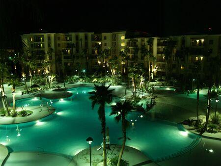 swimm: night view swimming pool Stock Photo